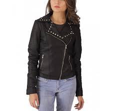 studded black leather biker jacket