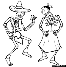 Small Picture Dancing Skeletons Online Coloring Page