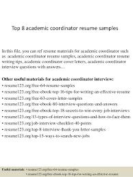 Academic Resume Samples Top 8 Academic Coordinator Resume Samples