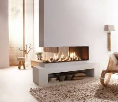cool modern awesome nice wonderful 3 sided gas fireplace with compact design concept with small low