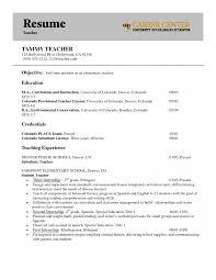Objectives For Teacher Resumes Careere Preschool Resume Job