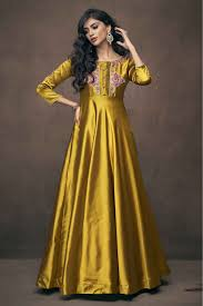 Satin Silk Dress Designs Satin Silk Embroidery Gown In Yellow Colour
