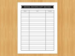 Record Gifts Printable Bridal Shower Gift Record List List Of Gifts Received
