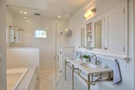 traditional marble bathrooms. Seattle White Carrera Marble Bathrooms With Tropical Artificial Plants And Trees Bathroom Traditional Subway Tile Medicine