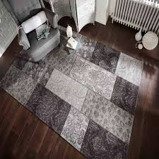 manhattan patchwork chenille black grey rug by flair rugs