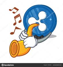 with trumpet ripple coin character cartoon stock vector