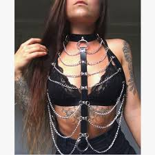 black faux vegan leather chain harness bra women s fashion clothes on carou