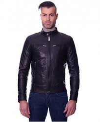 hamilton black colour goat leather jacket wrinkled aspect