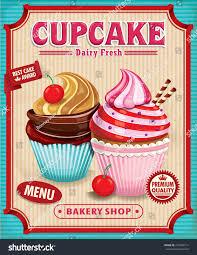 Cupcake Poster Design Vintage Cupcake Poster Design Stock Vector Royalty Free