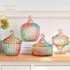Decorative Glass Jars With Lids 60 new colours glass candy jar with glass lids creative wedding 44