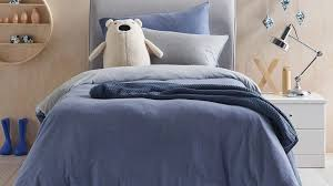 cozi navy single quilt cover and fitted sheet set