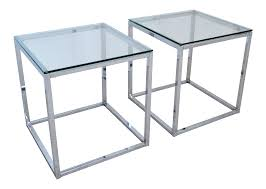 Milo Baughman Style Mid Century Modern Chrome & Glass Cube Side Tables - a  Pair Millennial | Chairish