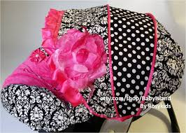 baby car seat cover canopy infant car seat cover canopy damask polka dots hot pink for baby girl fit most infant car seat