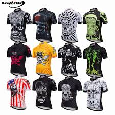 WEIMOSTAR <b>Men's Cycling Jersey</b> Black <b>Skull</b> Bike Mtb DH Racing ...