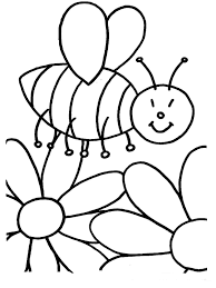 Bee Flower Coloring Page With Flowers And Funny Bees Coloring Page