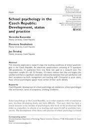 Pdf School Psychology In The Czech Republic Development