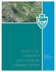 BLOCK F COMMUNITY CONSULTATION #1 SUMMARY REPORT