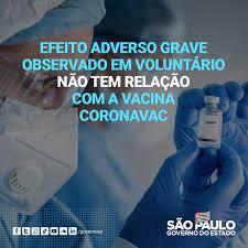 Governo do Estado de São Paulo - 💉 #ESCLARECIMENTO: Efeito adverso  observado em voluntário NÃO TEM RELAÇÃO com a vacina #Coronavac. ✓  Instituto Butantan tem 119 anos de história e produz 75%