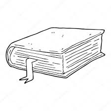 freehand drawn black and white cartoon thick book vector by lineartestpilot