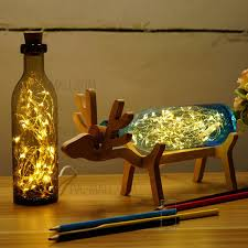 creative handmade elk light glass bottle light table lamp with elk wood base birthday gifts blue