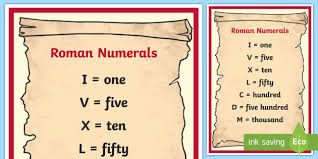 Number Numerals Chart Free Roman Numerals Chart Poster Roman Numerals Chart