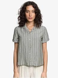 <b>Женская</b> льняная <b>рубашка</b> с коротким <b>рукавом</b> Quiksilver Womens ...
