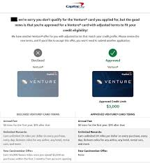 That said, the capital one venture rewards credit card's annual fee is effectively offset once every four years if you take advantage of the $100 credit for a global entry application. Capital One Now Adjusts Signup Bonus Offer Within Application Process For Those Less Qualified Doctor Of Credit