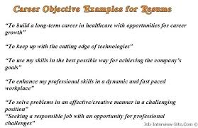 Sample Resume Objective Examples Resume Objective Examples For