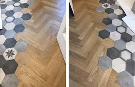 a herringbone pattern that joins into hexagonal tile design is genius this amazing look is one of the many designs possible when mixing materials