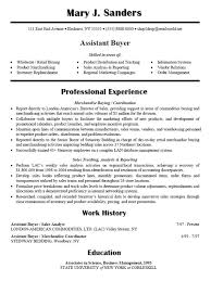 Resume Sample for Assistant Buyer