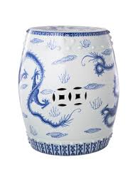 ceramic garden stool hand painted by yuet tung china works with 5 blue imperial dragons design