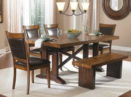 table with bench. some ideas of dining room table with benches » 6 piece set bench in warm-brown e