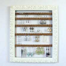 hanging earring organizer holder frame wood jewelry for wall hangers hanger metal wooden necklace holders mounted jewelry wall hanger