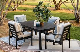 home design love modern aluminum outdoor furniture patio dining chair in black mathis brothers