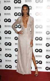 hollywood glamour: model jourdan dunn channeled old hollywood glamour in a plunging hugo boss silver gown complete