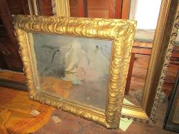 antique wooden frame mirror item large antique picture frameirror including a gilded wood plaster