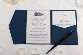 Wedding Invitatiins Brig O Doon Wedding Invitation In Navy Blue Pocketfold Com Bossa