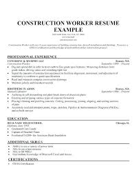 Resume General Labor Manual Gorgeous Inspiration Construction Worker