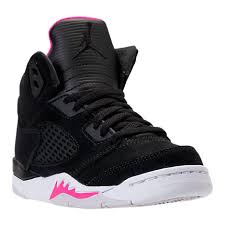 nike basketball shoes for girls black. nike girls\u0027 preschool jordan retro 5 basketball shoes black/deadly pink/white kids nike for girls black a