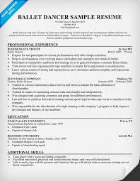 Dance Resumes Template Enchanting Dancer Resumes With Education Httptopresumedancerresumes