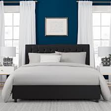 Solid Wood Modern Bedroom Furniture Modern Platform Beds Queen Size Black Upholstery Style Faux