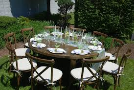our 66 round farm tables comfortably seats up to 10