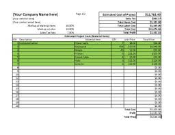 Project Estimate Template Excel Project Estimate Spreadsheet For Excel Estimate Template