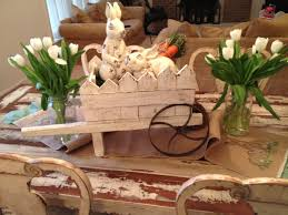 Hobby Lobby Table Runner Wheelbarrow Ceramic Bunnies Straw Carrots Burlap 8  Table Hobby Lobby Table Runner