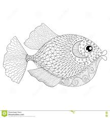 Hand Drawn Zentangle Fish For Adult