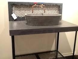 concrete vessel sink vanity with washtub vessel sink and raw copper faucet eclectic bathroom concrete vessel sink diy