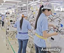 production manufacturing development design manufacture of sub assemblers automating wire cutting terminal crimping connection up to temporary assembly the compactly designed production line is being expanded
