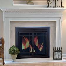 pleasant hearth enfield prairie cabinet fireplace screen and 9 pane smoked glass doors burnished
