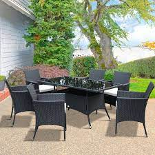 outsunny 7 pcs rattan furniture dining