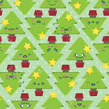 Seamless Background Tile With Super Cute Kawaii Christmas Tree ...